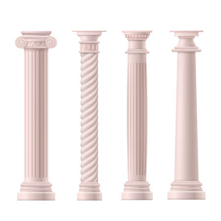 A set of antique Roman or Greek classical columns. Columns in ionic, doric and corinthian styles. Realistic 3d vector illustrations isolated on a white background.