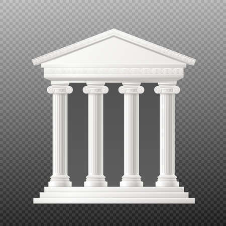 Antique portico arch or entrance porch with white columns mockup, realistic vector illustration isolated on transparent background. Rome and Greek arch with frontone pillars.