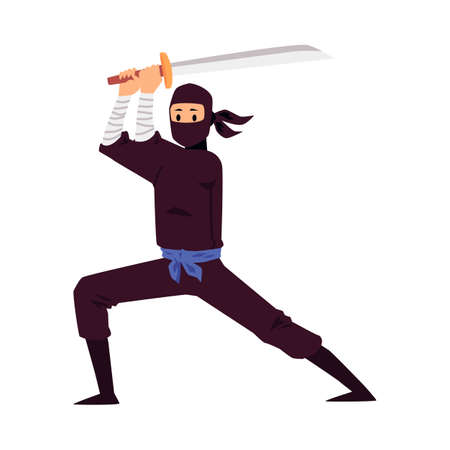Japanese ninja holding a sword weapon and standing in fighting pose. Cartoon man in black mask and costume with katana - isolated vector illustration on white background.