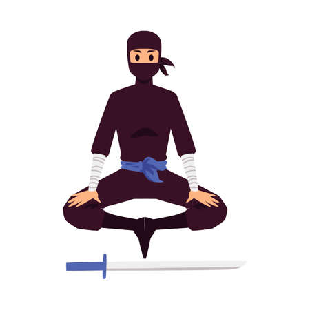 Silhouette of a meditating ninja on a white background. Next to the sword. Vector illustration.