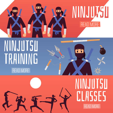 Horizontal banners with silhouettes of ninjas. Training samurai with swords. A ninja weapon of war. Vector illustration.