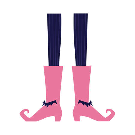Cartoon witch legs wearing pink boots with high heel and curled toes. Halloween costume elements - vintage cracows shoes and striped tights - isolated vector illustration.