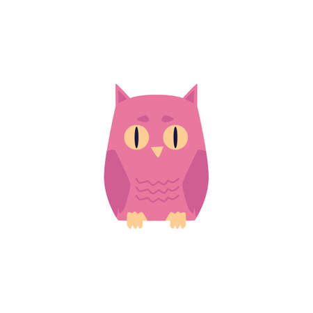 Pink owl bird with big eyes isolated on white background. Cartoon animal sitting from front view, vector illustration for children. Ilustracja