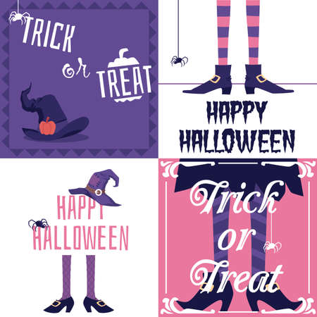 Happy Halloween and Trick or treat holiday card set with witch legs and hat. Spooky cartoon posters with text, spiders and scary costume elements, vector illustration. 向量圖像