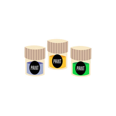 Gouache or acrylic color jar containers, flat vector illustration isolated on white background. Art materials for painting and crafting symbol or sign.