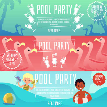 Swimming pool children party set of flyers or posters, flat vector illustration on color background. Kids summer activity and holiday event celebration advertisement.