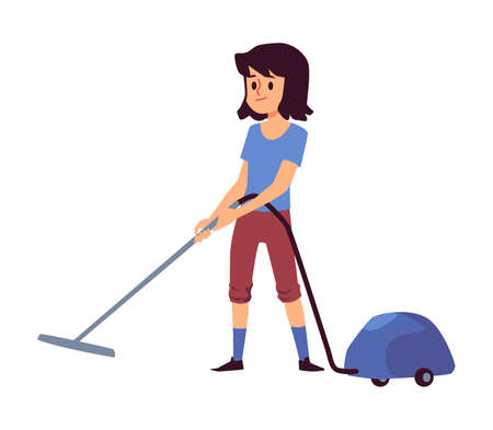 Cartoon child using vacuum cleaner isolated on white background - little girl vacuuming the floor and helping with house chore. Vector illustration. Vektoros illusztráció