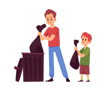 Kid and parent with trash bags putting them in garbage bin. Cartoon father and son taking out rubbish together - vector illustration isolated on white background.