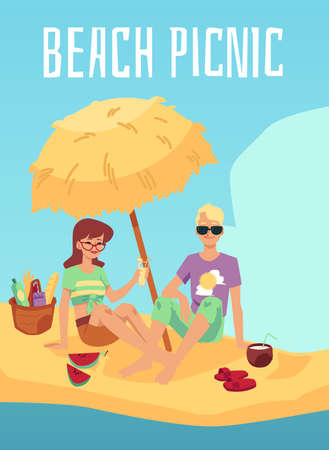 Happy couple having picnic on beach, flat vector illustration. Man and woman cartoon characters eating and drinking at sea shore background banner or poster template.