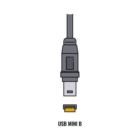 USB Mini B port and plug - isolated flat vector illustration on white background. Grey cable wire for data transfer and electronic device charging.