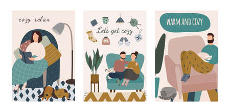 Cozy and warm home - cartoon card set with with cartoon people sitting on chairs relaxing in winter with book or pet animals. Vector illustration of indoor leisure. Vecteurs