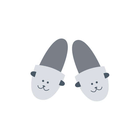 Flat cartoon vector illustration of home shoes. Cosy, relaxation footrest. Cute home Slippers isolated on a white background.