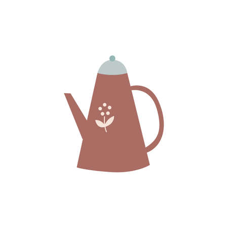 Cute tea pot pitcher isolated on white background. Cartoon brown drink jug or watering can with flower drawing, vector illustration of tall brown teapot with spout