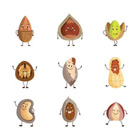 Cartoon nuts set - happy and funny food characters isolated on white background. Walnut, peanut, pistachio and other brown nuts with facial expressions, vector illustration. Vecteurs