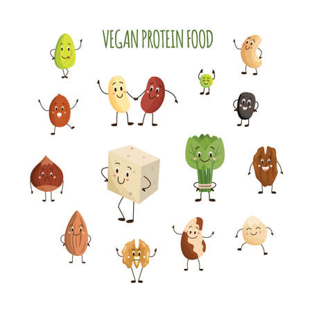 Cute cartoon characters of vegan food. Collection of vector illustrations for menu, shop, bar, map, sticker or web design. Isolated on a white backg