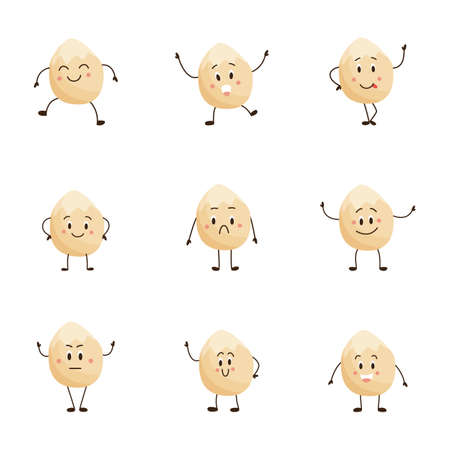 Peeled hazelnut cartoon character set in different moods - alive nut food with facial expressions of happiness, anger, sadness, etc. Isolated vector illustration. Illustration