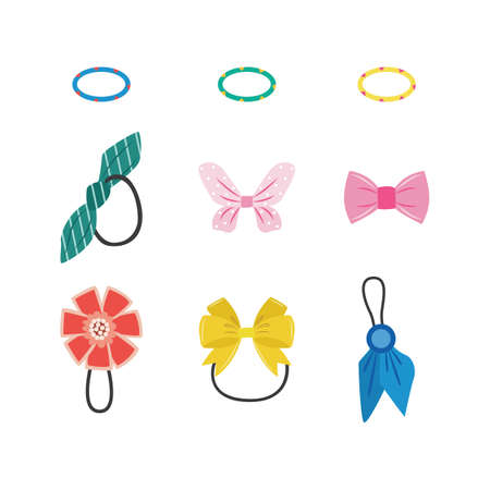 Isolated hair accessories set - colorful rubber bands with tied bows and ribbons. Female fashion decorations for cute hairstyles on white background, vector illustration.