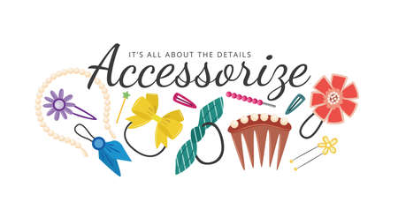 Vector cartoon set of hair clips or Barber accessories isolated on a white background. Illustration of beauty and fashion. Elastic bands with flowers hairpins and clips for hair ponytail for a girl's hairstyle.