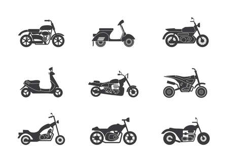 Set of motorcycles and motorbikes black silhouettes, flat vector illustration isolated on white background. Urban motor transport and motocross bikes contours bundle.