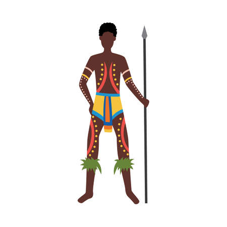 Indigenous man from Australia with aboriginal culture elements. Cartoon native Australian person with cultural body paint tattoos holding a spear, vector illustration. Vector Illustration