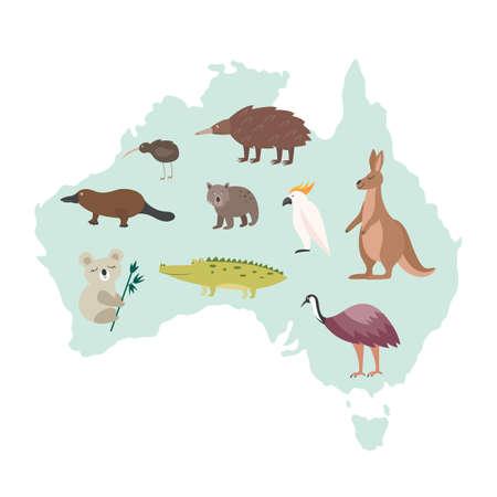 Australia map with national animals - cartoon kangaroo, koala, dodo and other famous Australian wildlife fauna on country silhouette. Isolated vector illustration.