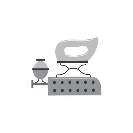Vintage old clothes iron with liquid fuel heater and coal box isolated on white background. Antique ironing appliance with gasoline burner, vector illustration.