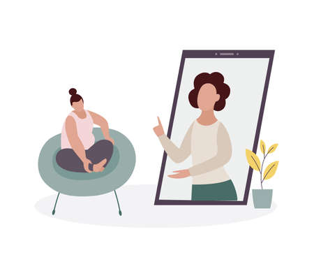 Online psychological support concept with therapists or psychologists provide emotional help to stressed woman, flat vector illustration isolated on white background.