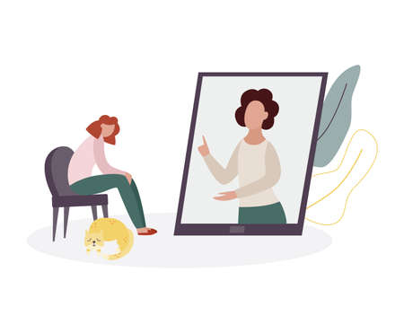 Online therapy counselling session with therapist woman in phone or tablet screen talking to cartoon patient on chair. Psychological help app concept, vector illustration. Иллюстрация