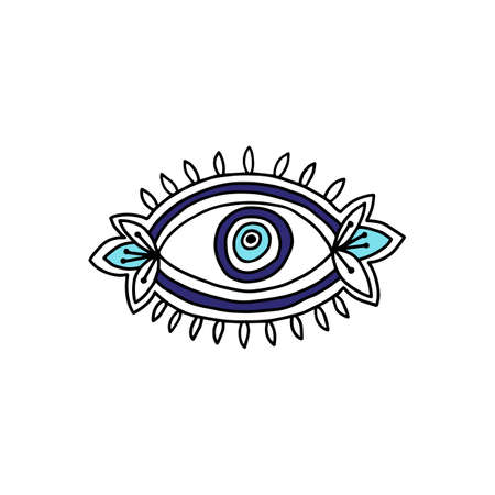 Evil seeing eye drawing with blue iris and flowers - mystic doodle drawing isolated on whtie background. Occult sign or symbol vector illustration.