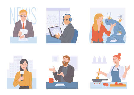 A set of characters leading news, show or interview, weather reports, journalists and reporters with microphones. Vector flat cartoon illustrations of mass media.