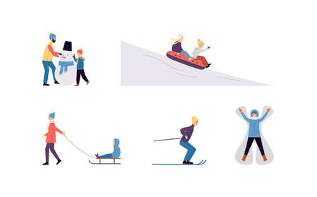 Set of people characters and their outdoor activity in the winter season. Winter entertainment-skiing, sledding, lying in snowdrift, making snowman and tubing. Flat vector illustration