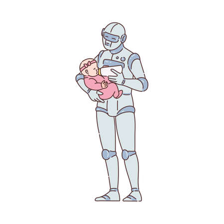Future babysitting and children care technology concept a character of robot android feeding baby child, sketch cartoon vector illustration isolated on white background.