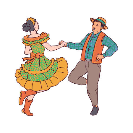 A couple dances a traditional quadrilha dance at a June party. Brazilian festival Festa Junina. Vector illustration isolated on a white background.