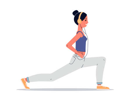 Woman doing yoga with headphones - cartoon female athlete in lunge pose listening to music or podcast while stretching her legs. Isolated vector illustration.