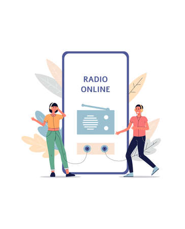 Online radio app listeners concept - cartoon people listening to broadcast with headphones connected to giant smartphone screen. Modern technology vector illustration. Vektorgrafik