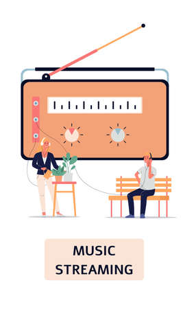 People streaming radio music - cartoon poster with giant vintage FM broadcast device and listeners at home listening with headphones. Isolated vector illustration.