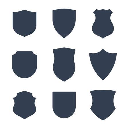 Shield shape or police emblem silouhettes black set vector illustration isolated on white background. Security staff or detective badge icons. Illustration