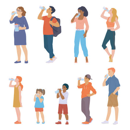 People drink water. Set of characters of children, teenagers, young men and women with bottles or glasses of water in their hands. Healthy lifestyle. Vector flat isolated illustrations. Çizim