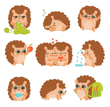 Set of cute cartoon characters hedgehogs with different emotions and situations. Collection colorful flat vector illustrations isolated on a white background