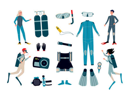 Set of scuba diving equipment and facilities for underwater photo shooting with cartoon characters of divers, flat vector illustration isolated on white background.