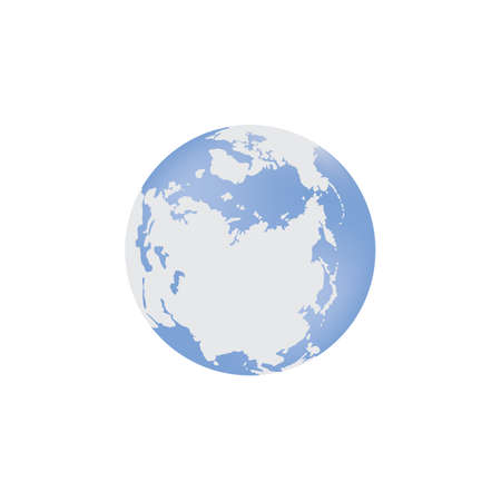 Blue globe with Eurasia and the Arctic. Vector flat illustration isolated on a white background.