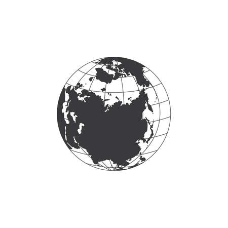 Black and white image of the earth with the continent of Eurasia and the Arctic ocean. Vector graphic illustration isolated on a white background.