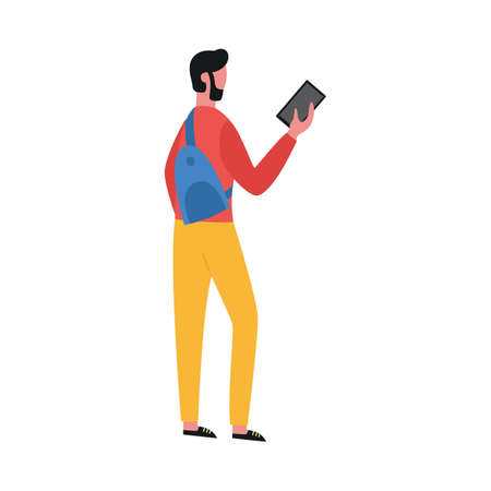 A young man is holding a mobile phone. Guy in casual clothes and with a backpack. Traveler or courier. Flat vector isolated illustration.
