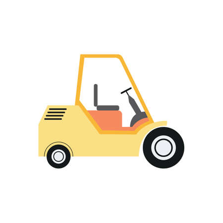Warehouse small mobile express car for goods stacking, flat vector illustration isolated on white background. Logistics and storehouse car. Ilustrace
