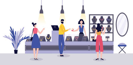 Jewelry store interior - jewellery seller and buyers at luxury necklace and engagement ring stand. Cartoon people at accessories shop - vector illustration.