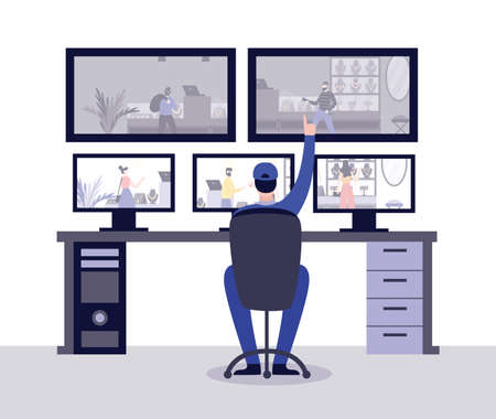 Security room of jewelry store with security guard monitoring situation behind computer displays, flat vector illustration. Video security system of jewelry shop.