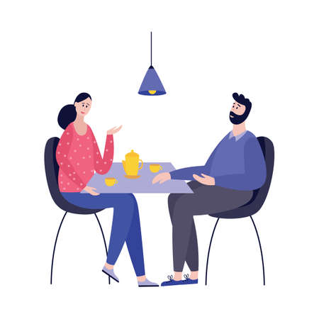 A young man and woman are sitting at a table drinking coffee and talking. A couple in love at dinner or meeting two close loving people who are in a romantic relationship. Family cozy dinner and relaxation. Vector flat cartoon illustration isolated on a white background.