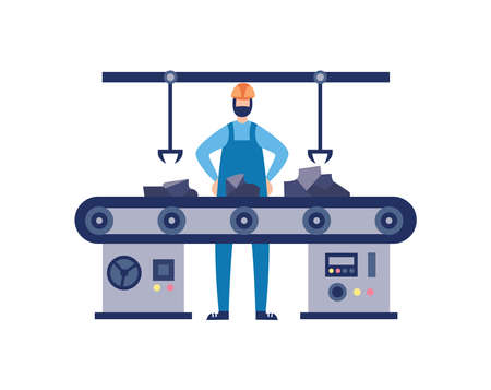Man worker character at foundry factory in working process on industrial equipment, flat vector illustration isolated on white background. Metallurgy and foundry.