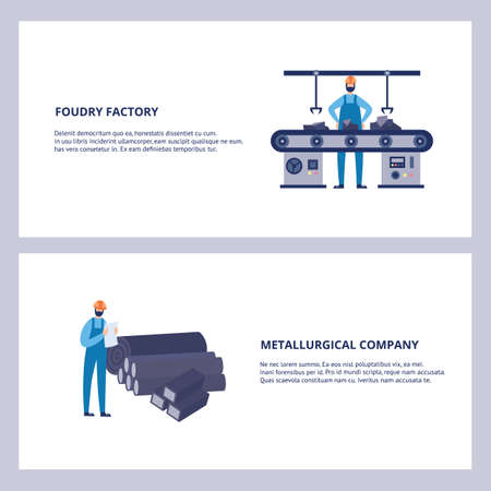 Foundry factory and metallurgical company banner set with equipment and workers, flat vector illustration on white background. metallurgy industry and steel production.