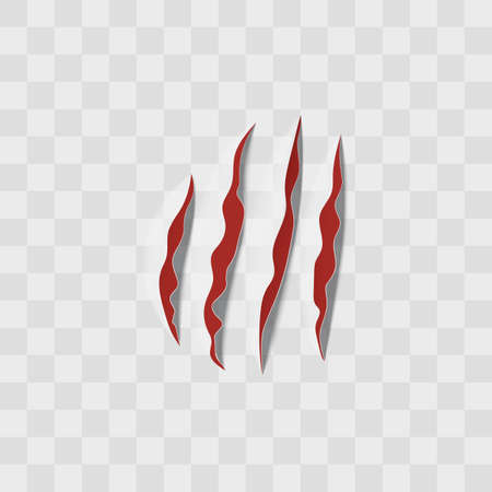 Realistic animal claw scratch or slash marks with red flesh surface inside - vector illustration isolated on transparent background. Four lines of sharp talons trail.
